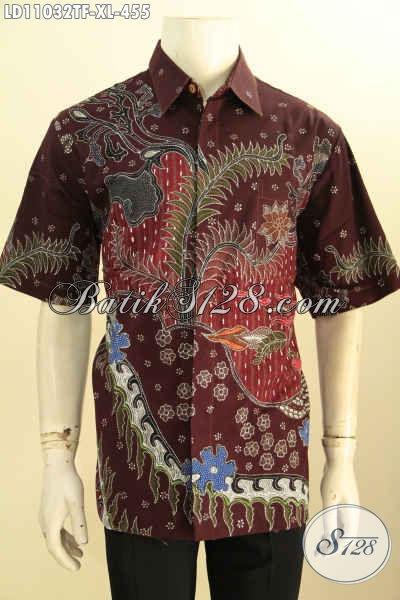 Batik Hem Solo Halus Full Furing, Pakaian Batik Motif Trendy Lengan Pendek Bahan Adem Kwalitas Istimewa Proses Tulis, Cocok Untuk Kerja Dan Hangout