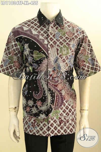 Batik Kemeja Lengan Pendek Daleman Full Furing, Pakaian Batik Halus Motif Bagus Proses Tulis, Penampilan Pria Terlihat Menawan