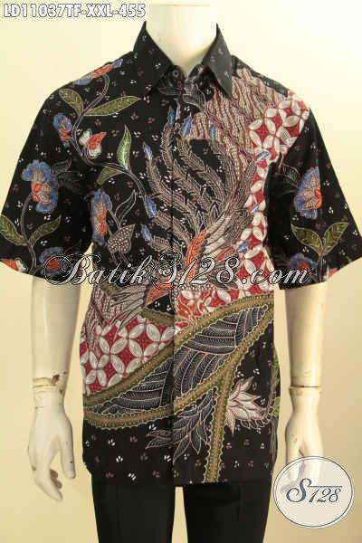 Baju Batik Tulis Lengan Pendek Spesial Untuk Pria Gemuk, Busana Batik Modis Full Furing Motif Bagus Bahan Adem Cocok Buat Ngantor