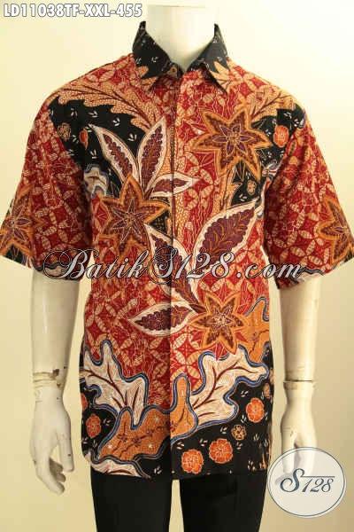 Baju Batik Solo Lengan Pendek Nan Istimewa, Busana Batik Halus Motif Kekinian Daleman Full Furing Pria Gemuk Terlihat Langsing