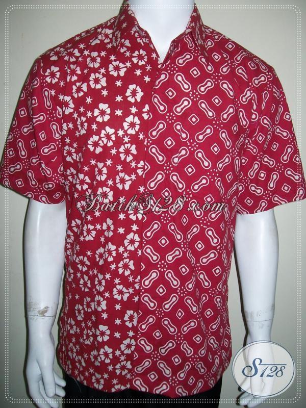 Koleksi Terbaru Kemeja Batik Kombinasi Dengan Warna Merah Keren