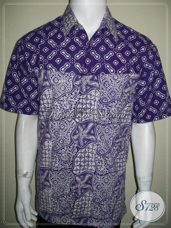 Batik Kombinasi 2 Motif, Kemeja Batik Pria Warna Ungu Untuk Remaja Aktif