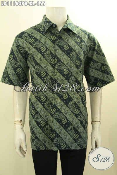 Baju Batik Halus Lengan Pendek Motif Unik Warna Berkelas, Busana Batik Kerja Lelaki Kantoran Ukuran XL Proses Printing, Tampil Gagah Dan Mempesona