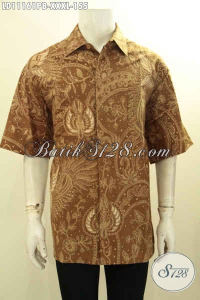 Batik Hem Pria Lengan Pendek Big Size, Kemeja Batik Solo Kekinian Motif Elegan Proses Printing, Cocok Untuk Acara Santai Dan Resmi