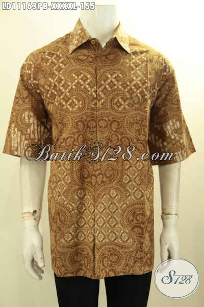 Hem Batik Solo Halus Size XXXXL, Busana Batik Kerja Pria Gemuk Sekali Model Lengan Pendek Khas Jawa Tengah Motif Terbaru Untuk Penampilan Lebih Mempesona