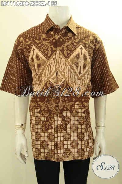Batik Hem Keren Lengan Pendek Buatan Solo, Pakaian Batik Kerja Pria Gemuk Sekali Motif Bagus Proses Printing Hanya 155K