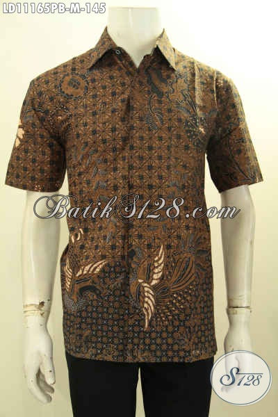 Busana Batik Solo Jawa Tengah Halus Lengan Pendek, Pakaian Batik Modern Bahan Adem Motif Elegan Klasik Proses Printing, Menunjang Penampilan Lebih Gagah Dan Tampan