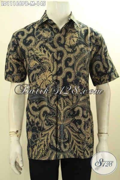 Busana Batik Solo Lengan Pendek Modis Desain Terbaru Yang Membuat Lelaki Terlihat Gagah Dan Keren, Busana Batik Printing Untuk Kerja Dan Hangout Hanya 145K
