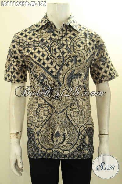Baju Batik Pria Halus, Kemeja Batik Cowok Desain Trendy Motif Bagus Model Lengan Pendek Proses Printing Cabut, Bikin Penampilan Gagah Dan Tampan