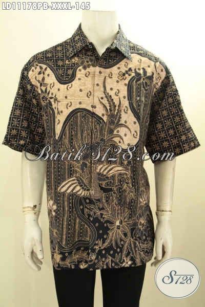 Kemeja Batik Big Size, Busana Batik Solo Istimewa Lengan Pendek Untuk Pria Gemuk, Hadir Dengan Model Terkini Motif Bagus Proses Printing Cabut, Penampilan Tampan Dan Gagah