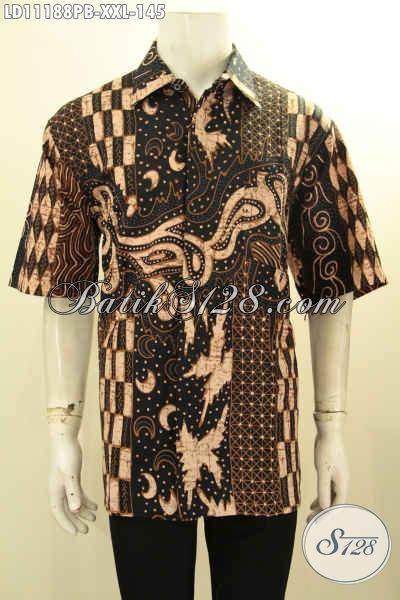 Batik Kemeja Solo Halus Lengan Pendek Motif Elegan, Pakaian Batik Kerja Pria Gemuk Proses Printing Cabut, Pilihan Tepat Untuk Tampil Mempesona