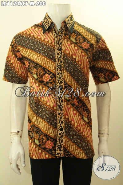 Kemeja  Batik Kerja Pria Size M, Baju Batik Halus Motif Klasik Khas Jawa Tengah Proses Cap Tulis, Tampil Gagah Menawan