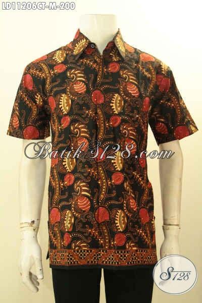 Baju Batik Solo Motif Unik Model Lengan Pendek, Busana Batik Modern Kwalitas Bagus Bahan Adem Proses Cap Tulis, Penampilan Lebih Gagah Dan Tampan