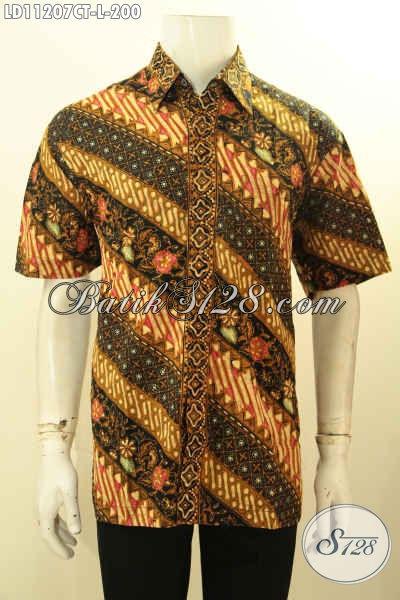 Batik Kemeja Pria Lengan Pendek Kwalitas Bagus Motif Parang Bunga, Pakaian Batik ELegan Yang Cocok Buat Kondangan Dan Acara Resmi