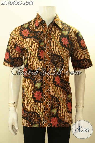 Produk Busana Batik Pria Terbaru, Sedia Kemeja Batik Lelaki Ukuran L Bahan Adem Motif Bagus Proses Cap Tulis, Pakaian Batik Elegan Untuk Tampil Gagah Menawan