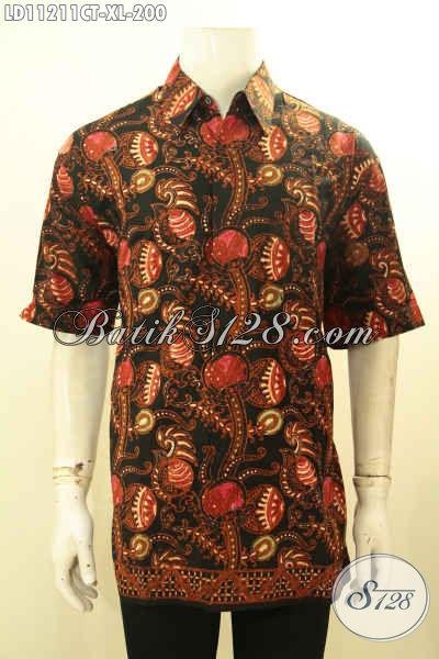 Jual Kemeja Batik Kerja Pria Dewasa Size XL, Busana Batik Halus Motif Trendy Model Lengan Pendek Kwalitas Istimewa Proses Cap Tulis, Penampilan Lebih Macho