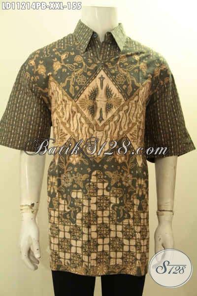 Kemeja Batik Pria Gemuk Lengan Pendek Motif Terbaru Bahan Adem Proses Printing Cabut, Cocok Buat Ngantor