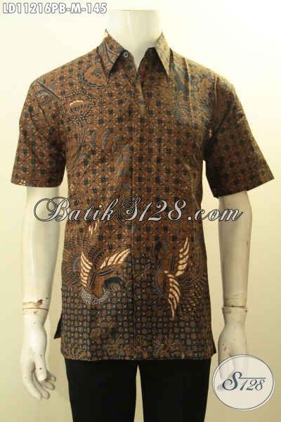 Baju Batik Kerja Pria Lengan Pendek Motif Klasik Bahan Halus Proses Printing Cabut, Busana Batik Istimewa Tampil Gagah Menawan, Cocok Juga Buat Kondangan