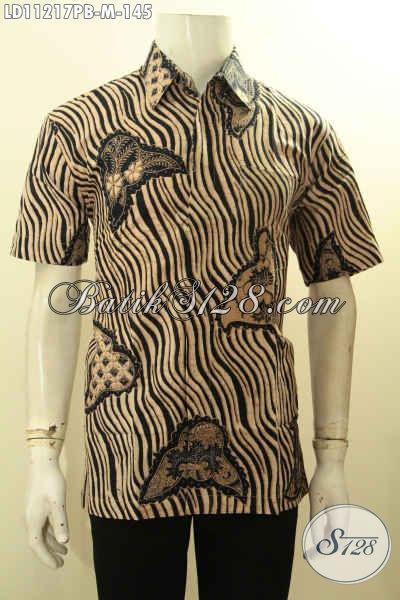 Batik Kemeja Elegan Desain Trendy Kwalitas Istimewa, Baju Batik Lengan Pendek Motif Unik Proses Printing Cabut, Elegan Buat Kondangan [LD11217PB-M]