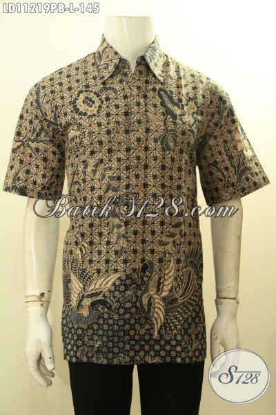 Baju Batik Casual Pria, Hem Batik Modis Desain Bagus Dan Berkelas Kwalitas Istimeaa Motif Klasik Printing Cabut, Penampilan Terlihat Keren Dan Elegan
