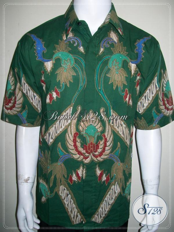 Model Baju Batik Modern Pria Untuk Kerja Warna Hijau, Batik Tulis Gan ! [LD1121T-XL]