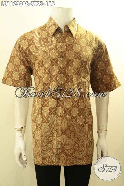 Jual Online Baju Kemeja Batik Pria Gemuk, Busana Batik Solo Jawa Tengah Lengan Pendek Nan Istimewa Bahan Adem Proses Printing Cabut, Penampilan Lebih Berkelas