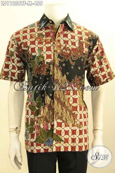 Baju Batik Solo Masa Kini, Batik Hem Modern Full Tulis Motif Bagus Model Lengan Pendek Nan Berkelas Untuk Penampilan Terlihat Tampan Menawan [LD11238TF-M]