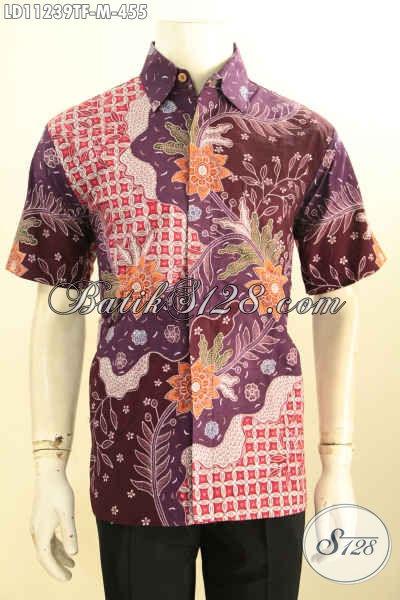 Batik Kemeja Solo Lengan Pendek Halus Full Furing, Baju Batik Modis Motif Tulis Asli Cocok Untuk Seragam Kerja Atau Buat Kondangan