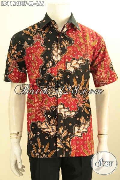 Pakaian Batik Pria Terbaru, Busana Batik Solo Halus Model Lengan Pendek Kwalitas Istimewa Bahan Adem Motif Tulis Aslli Lebih Mewah Dengan Daleman Full Furing, Penampilan Lebih Sempurna