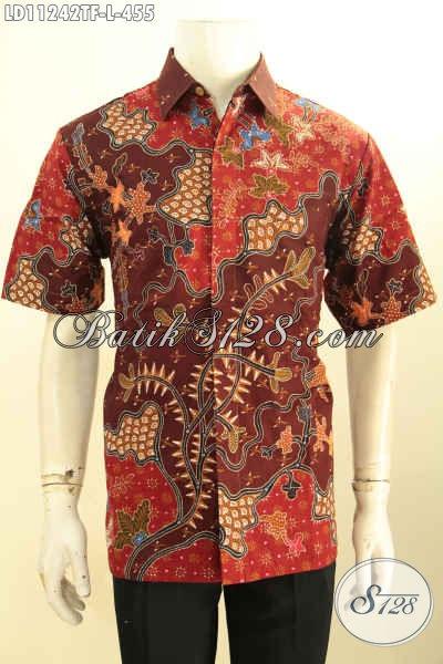 Batik Kemeja Solo Istimewa Model Lengan Pendek, Hem Batik Tulis Halus Full Furing Motif Elegan, Tampil Gagah Tampan Mempesona