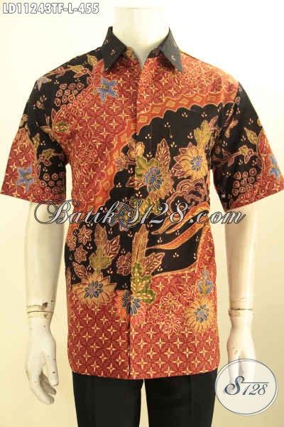 Baju Batik Mewah Model Lengan Pendek , Kemeja Batik Solo Halus Bahan Adem Daleman Pakai Furing Untuk Penampilan Terlihat Mewah Dan Berkelas
