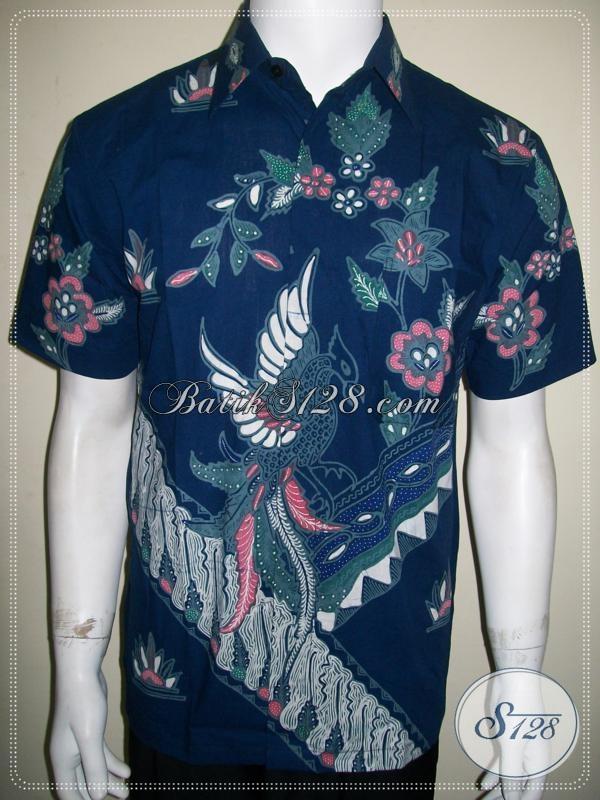 Baju Batik Tulis Modern Pria Warna Biru Lengan Pendek [LD1130T-M]