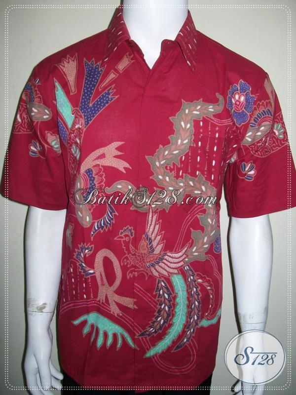 Baju Batik Dewasa Pria Warna Merah Asli Batik Tulis Solo Motif Terbaru [LD1147T-L]