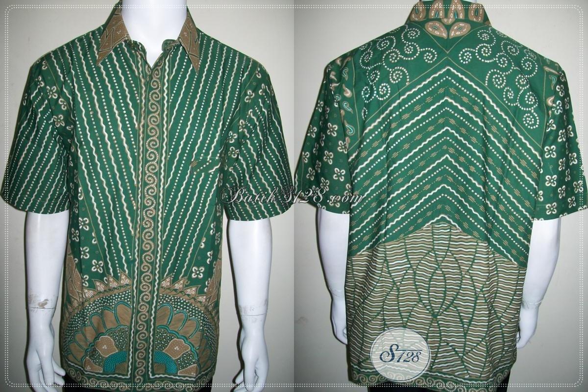 Kemeja Batik Pria Elegan Warna Hijau, Batik Tulis Motif Unik