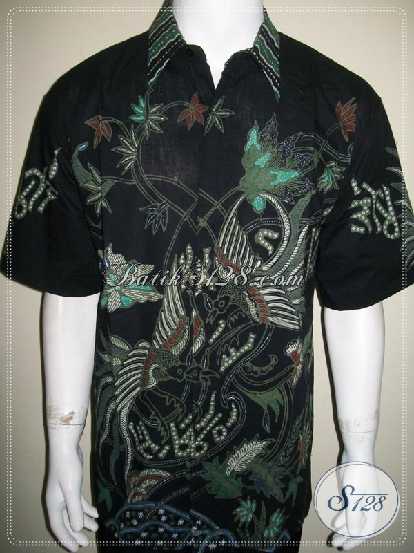 Kemeja Batik Untuk Pria Gemuk Size 4L Warna Hitam, Super Gede Jumbo Besar Big Size