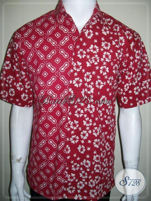 Kemeja Batik Unik Lengan Pendek Warna Merah Untuk Kekantor Dan Pesta Bisa