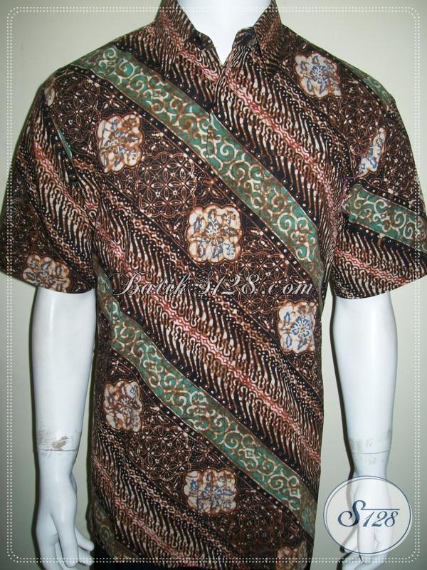 Hem Batik Anak Muda Dan Pria Dewasa, Kemeja Batik Lengan Pendk Motif Parang Cocok Untuk Seragam Kerja Kantoran, Size L