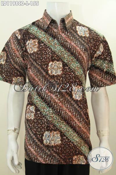Hem Batik Parang Bunga Lengan Pendek Modis Dan Istimewa, Baju Batik Halus Proses Cap Keren Buat Lelaki Muda Dan Dewasa Tamil Beda, Size L