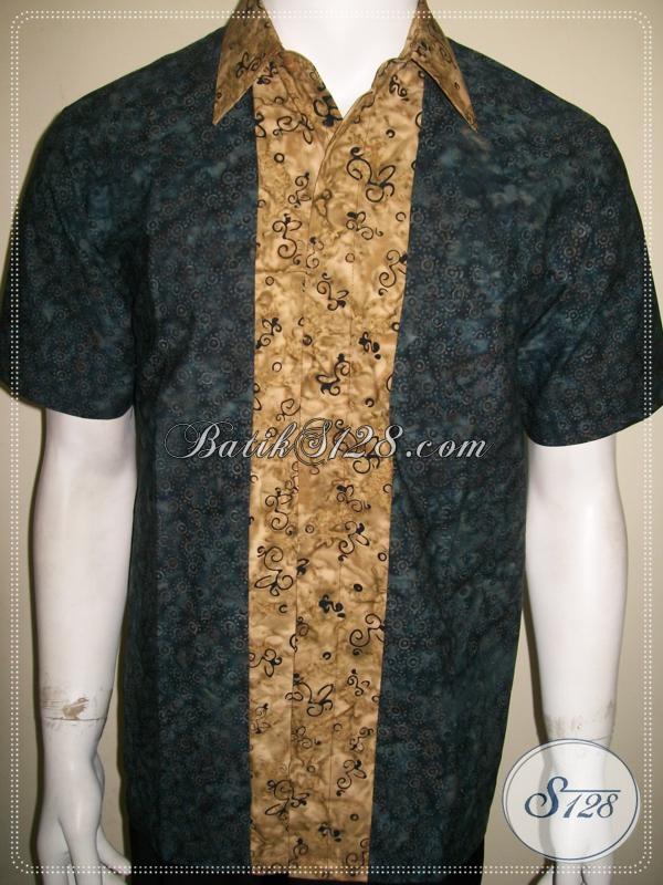 Jual Busana Batik Pria Lengan Pendek Kemeja Batik Kombinasi Warna