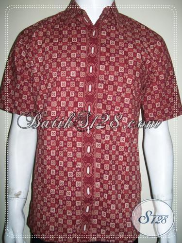 Busana Batik Pria Bagus Warna Merah Lengan Pendek