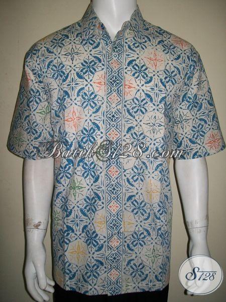 Baju Batik Pria Lengan Pendek Ukuran Xlwarna Dasar Putih