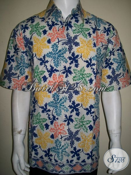 Kemeja Batik Daun Pepaya Warna Cerah Untuk Santai Bersama Keluarga [LD1284CD-XL]