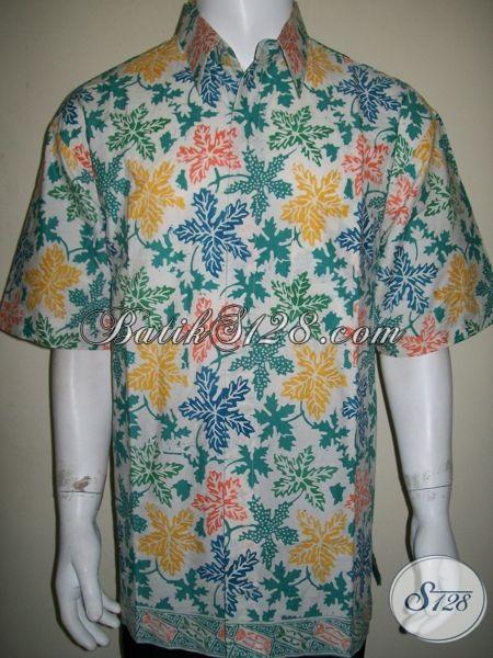 Baju Batik XXL Untuk Pria Gemuk, Motif Daun Pepaya, Tampil Berkelas [LD1290CD-XXL]