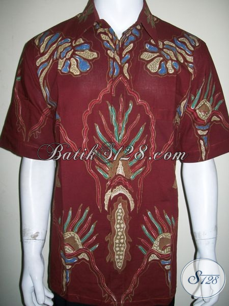 Kemeja Batik Merah Motif Abstrak Kontemporer Modern, Batik Tulis Solo Harga Terjangkau [LD1304T-XL]