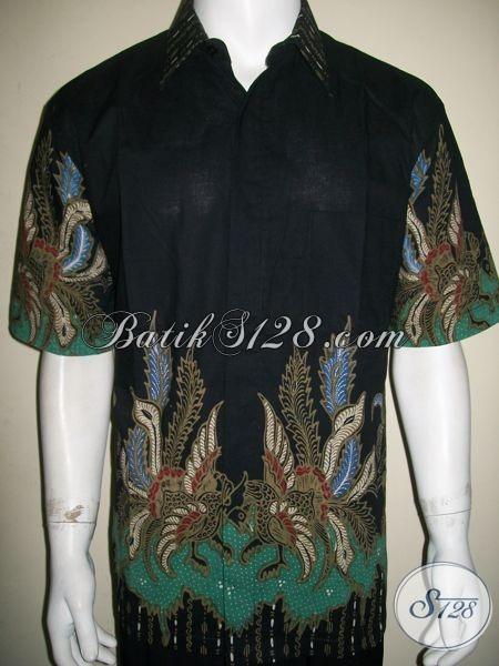 Batik Pria Warna Hitam Elegan Dan Bagus, Batik Tulis Modern, Banyak Dipakai Artis Dan Selebriti [LD1307T-XL]