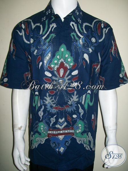 Batik Big Size Murah, Batik Tulis Asli Solo, Warna Biru Motif Kontemporer Modern [LD1309T-XXL]