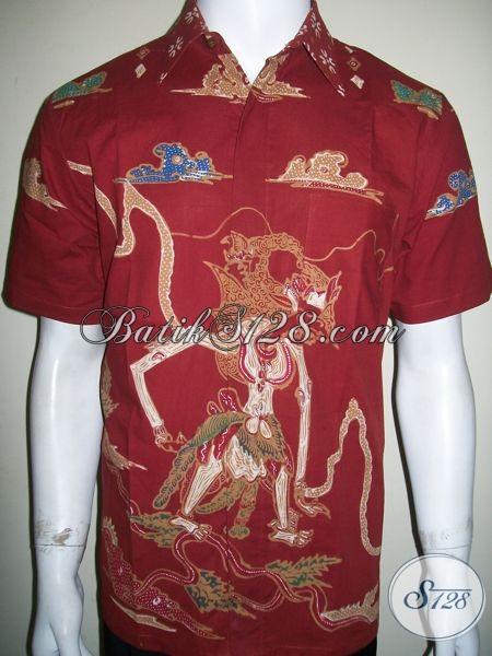 Batik Wayang Pria Motif Gatotkaca Warna Merah, Batik Tulis Keren [LD1318T-M]