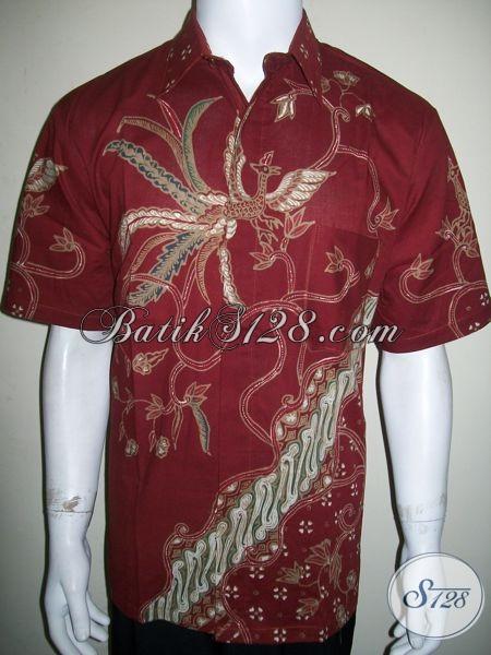 Kemeja Batik Pria Motif Modern Warna Merah Motif Burung Cendrawasih[LD1324T-L]