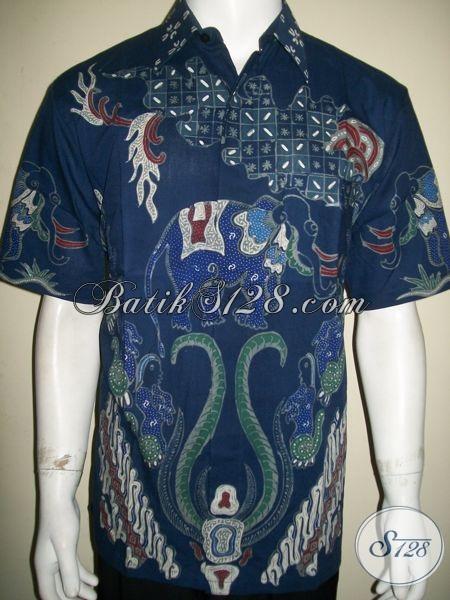 Kemeja Batik Pria Motif Gajah Warna Biru, Unik, Cocok Untuk Pejabat Perusahaan [LD1328T-L]