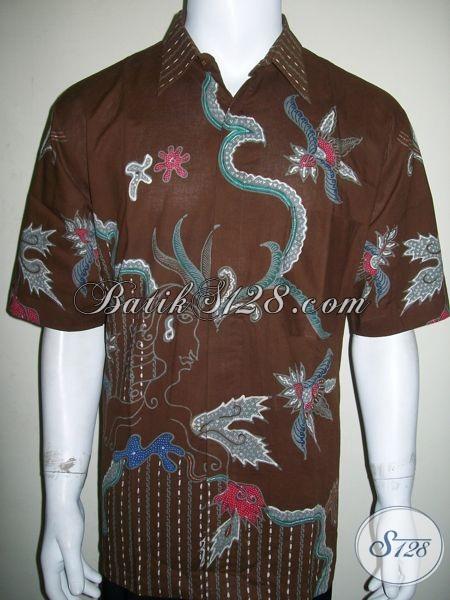 Kemeja Batik Tulis Warna Coklat, Bagus Dan Halus [LD1359T-XL]